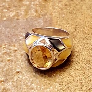 ESTATE Sterling Citrine MOP Dome Ring-sz 7